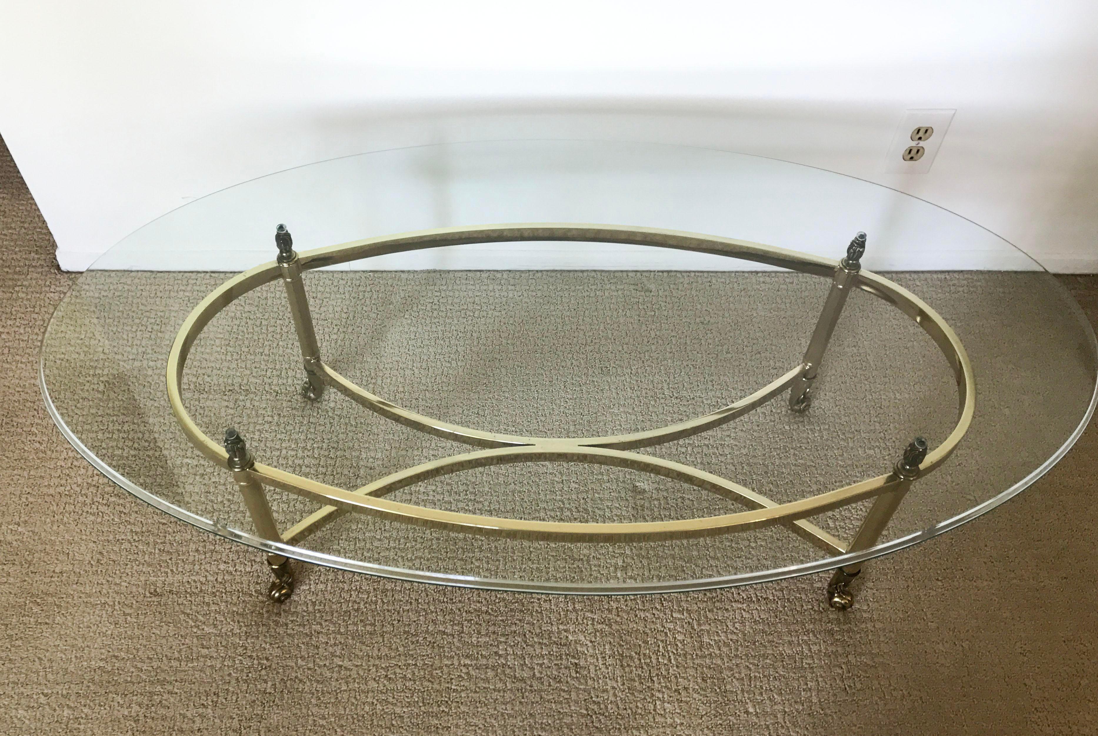 Vintage Brass U0026 Glass Oval Coffee Table   Image 3 Of 10