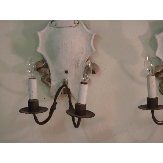 Italian Iron & Painted White Wood Sconces - A Pair - Image 4 of 6