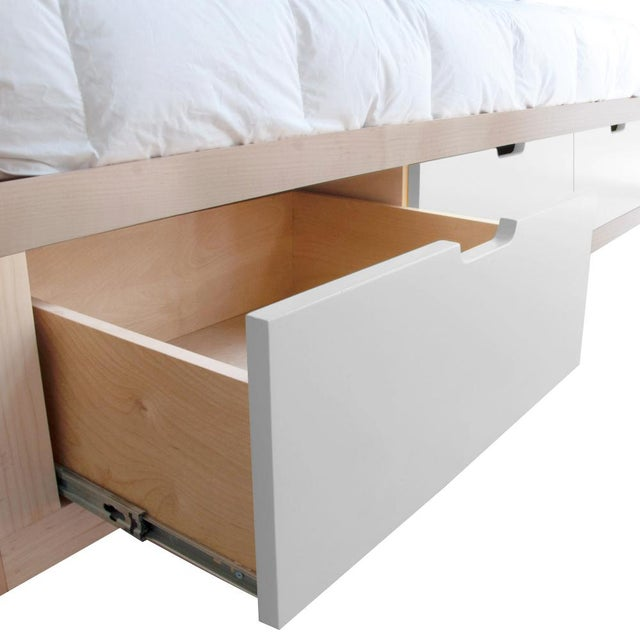Contemporary Domo Zen Twin Canopy Bed in Maple With White Finish Drawers For Sale - Image 3 of 4