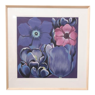 "Framed Signed and Numbered Serigraph ""Violet Monochrome"" by Lowell Nesbitt For Sale"