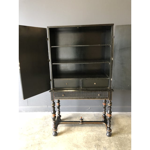 1920s Antique Black Lacquer Chinese Cabinet For Sale - Image 4 of 11