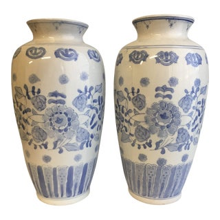 1990s Chinoiserie Ceramic Vases - a Pair For Sale