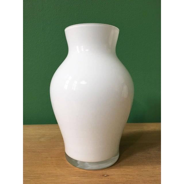 Glass 1970's Vintage Crown Staffordshire White Glass Vase For Sale - Image 7 of 7