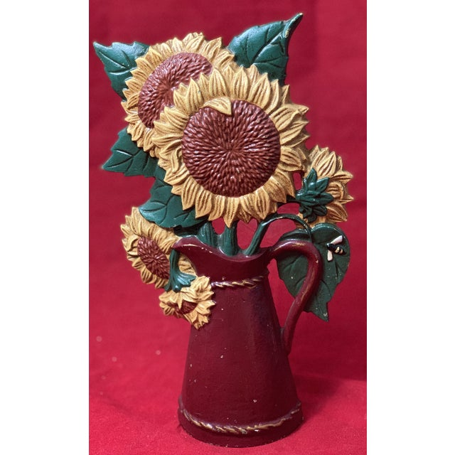Vintage Mid Century Hand Painted Sunflowers Cast Iron Door Stop For Sale - Image 9 of 12