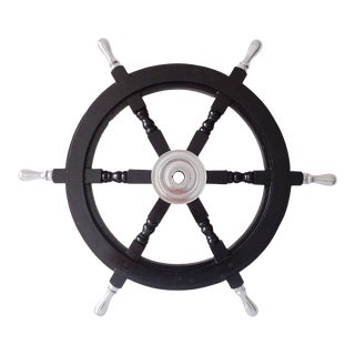 Antique Vintage Nautical Handcrafted Black Wooden Ship Wheel With Aluminium Hub & Handle For Sale