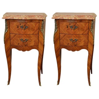 Louis XV Style Inlay Side Tables - A Pair