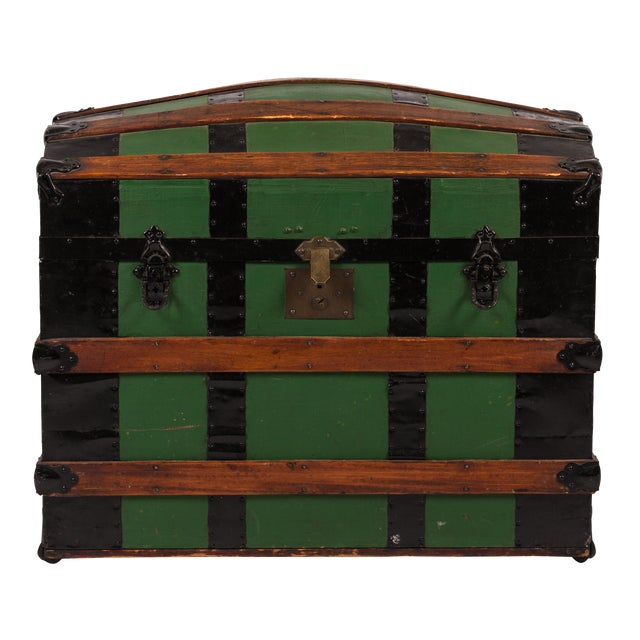 Antique Green Dome Carriage Trunk For Sale
