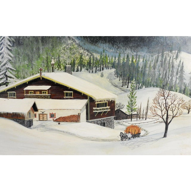 Rustic 1950s Folk Art Winter Scene Painting by C. F. Shepperd For Sale - Image 3 of 5