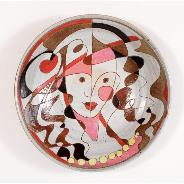 Mid 20th Century Art Pottery Incised Harlequin Jester Wall Charger For Sale - Image 9 of 9