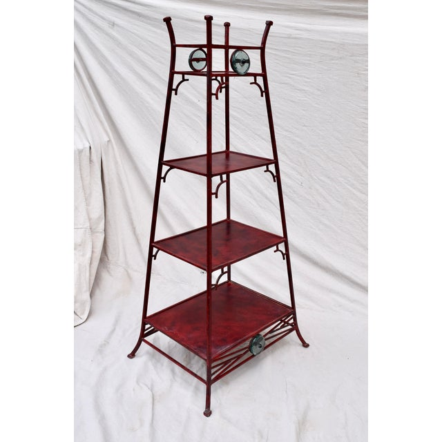 Iron Chinoiserie Pagoda Etagere by Palecek For Sale In Philadelphia - Image 6 of 9