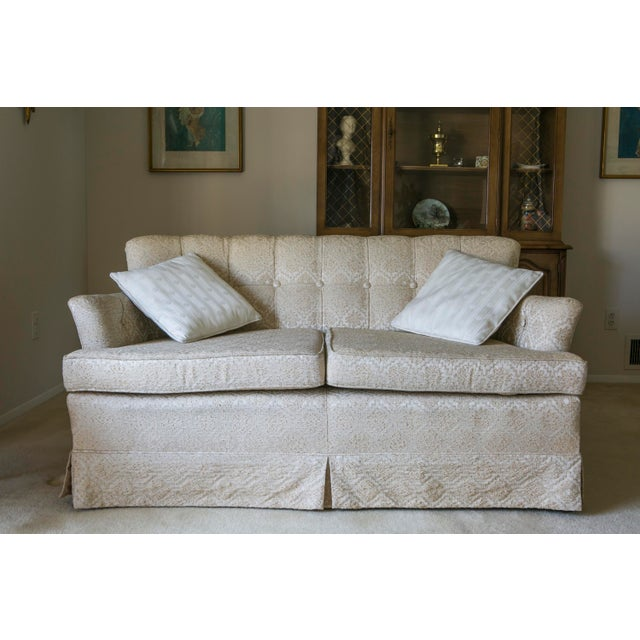 Classic cream colored matching love seats. Beautiful textured tailored fabric very comfortable. Solidly made perfect for...