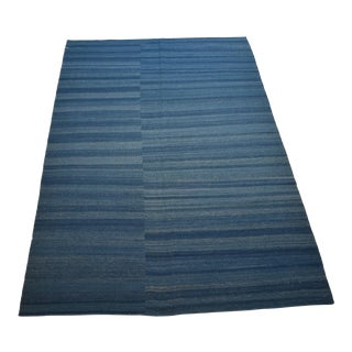 Handmade Blue Stripe Wool Rug - 5' x 8'