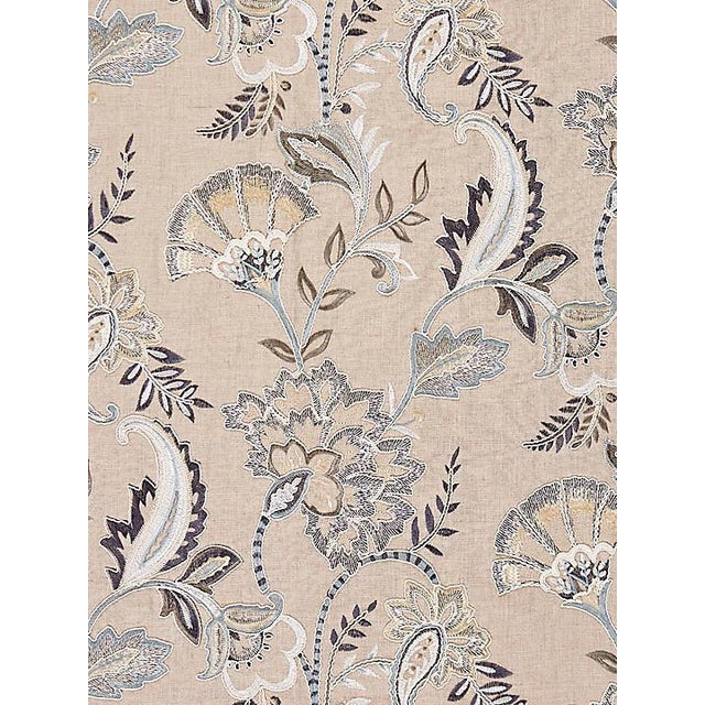 From the Scalamandre collection. Pattern is large.Dry Clean Only 100% Linen Ground With 89% Viscose 11% Polyester...