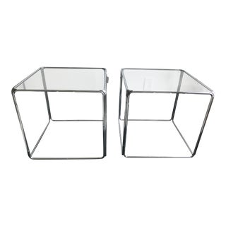 Milo Baughman Style Cube Side Tables - A Pair