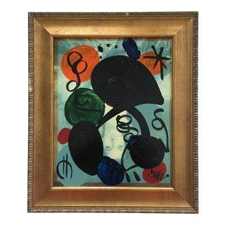 Original Peter Keil Miróvian Style Painting Framed For Sale
