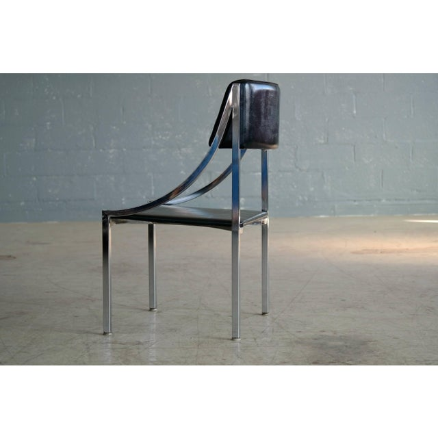Black Wolfgang Hoffmann Side Chair in Chrome and Vinyl for Howell Company For Sale - Image 8 of 10