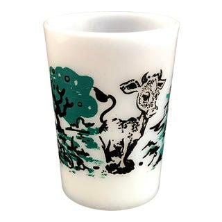 Vintage Hazel Atlas Children's Cow Milk Glass For Sale