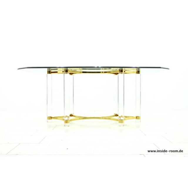 Lucite, Glass and Brass Dining Table, Romeo Paris, 1980s For Sale - Image 12 of 12