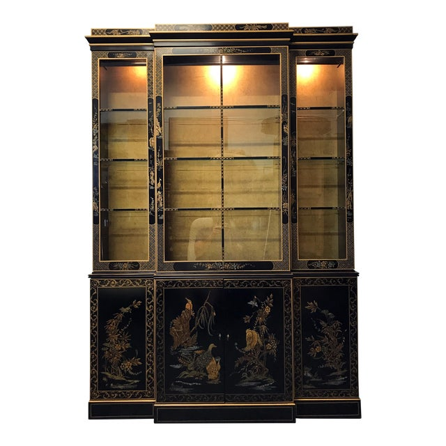 DREXEL HERITAGE Et Cetera Asian Chinoiserie Breakfront China Cabinet For Sale