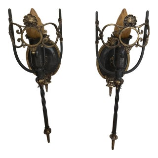 Antique French Art Nouveau Bronze Metal Flame Wall Sconces - a Pair For Sale