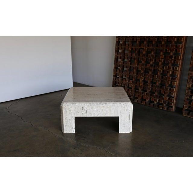 Modernist Travertine Square Coffee Table circa 1980.