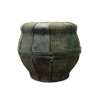 Vintage Redone Chinese Rattan Round Green Rustic Finish Basket