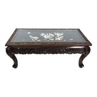 Vintage Japanese Lord & Co. Glass Top Inlaid Rosewood Coffee Table, Yokohama Japan For Sale