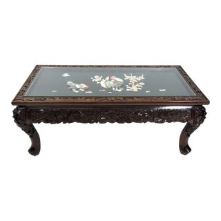 Vintage Japanese Lord & Co. Glass Top Inlaid Rosewood Coffee Table, Yokohama Japan With Rooster For Sale