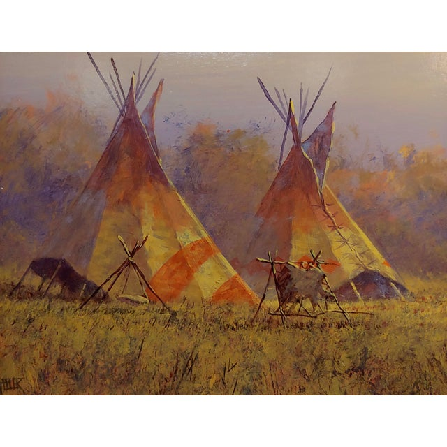 Mark Geller -Panoramic View of Teepees in an Indian Camp -Oil Painting For Sale In Los Angeles - Image 6 of 10