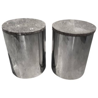 Paul Mayen Marble & Chrome End Tables or Stools - A Pair