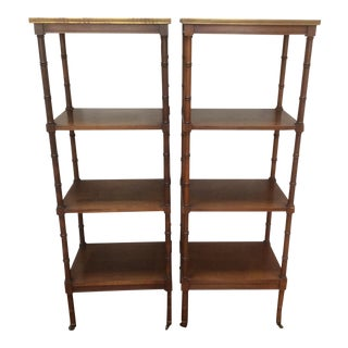 Faux Bamboo Regency Style Etageres - A Pair