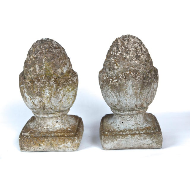 English Pair of English Cast Stone Finials, Circa 1920 For Sale - Image 3 of 11