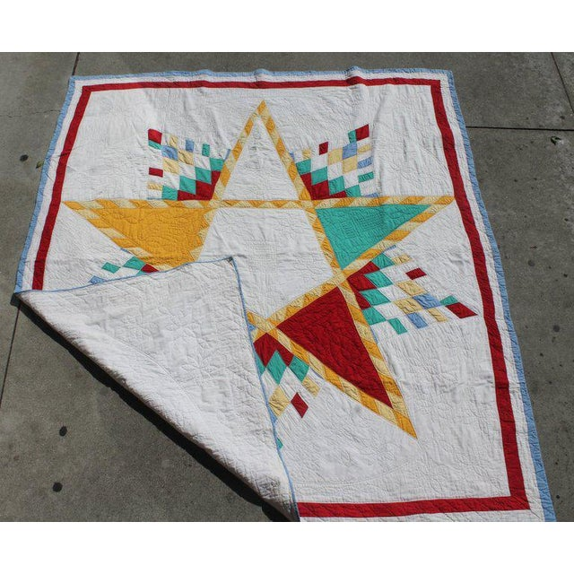 Antique Northeastern Star Quilt For Sale In Los Angeles - Image 6 of 11