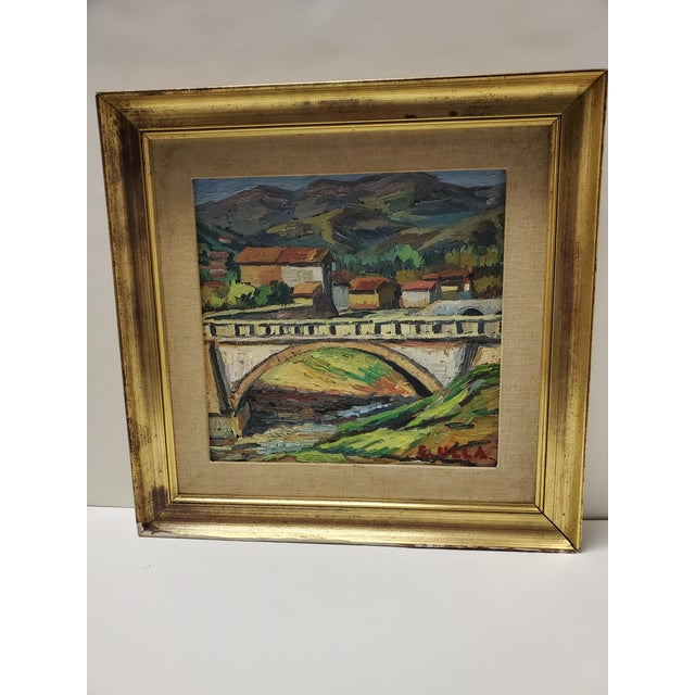 """Mid 20th Century """"The Bridge Before the Mountain"""" Painting For Sale - Image 13 of 13"""
