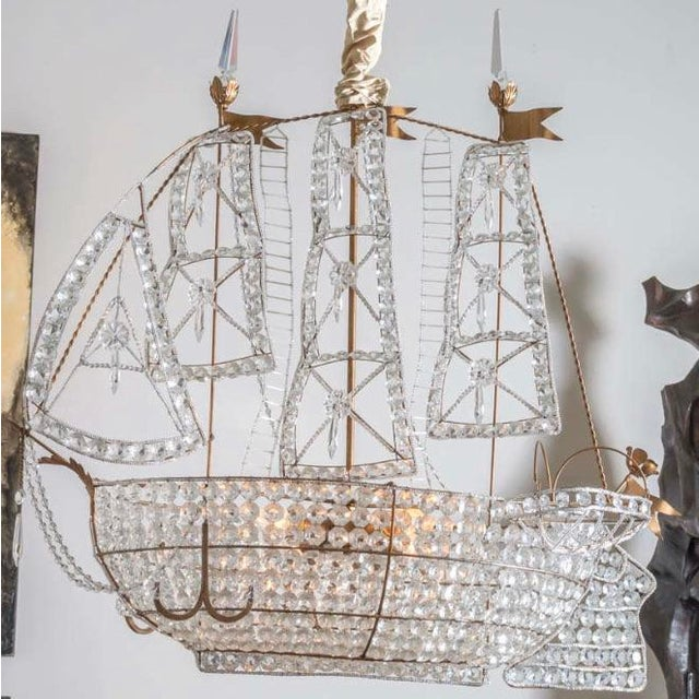 1920s Antique 1920s Italian Venetian Crystal Sailboat Boat Ship Chandelier For Sale - Image 5 of 6