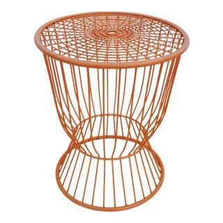Vintage Orange Metal Round Side Table .