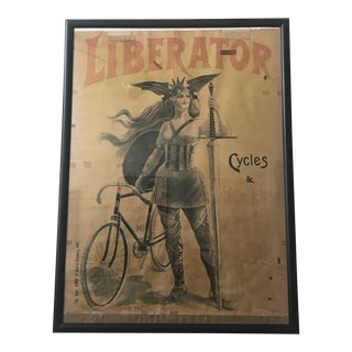 "1900 Antique French ""Liberator"" Bicycle Motorcycle Lithograph Poster For Sale"