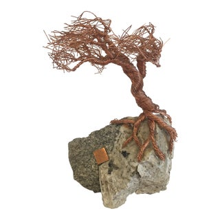 Mid Century Modern Copper Bonsai Tree on Stone For Sale