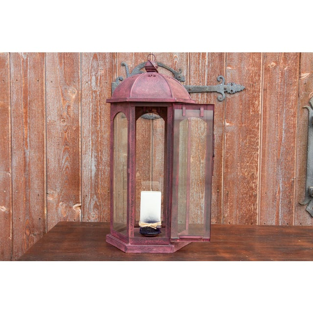 1950s Ruby Acanthus Glass Lantern For Sale - Image 5 of 8
