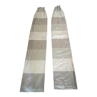Silk Striped Panels - a Pair For Sale