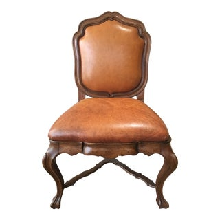 Quatrain Walnut Wood & Leather Chair For Sale