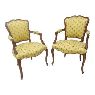 Louis XVI Walnut Arm Chairs - A Pair