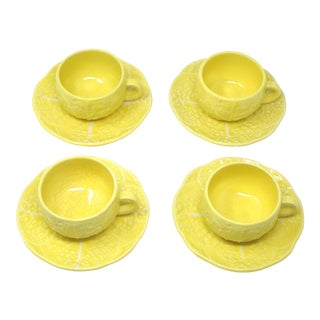 Vintage Secla Yellow Cabbage Majolica Teacups and Saucers by Secla - Set of 8 For Sale