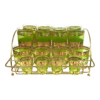 Culver Starlyte Barware Glass Set in Carrier - 25 Piece Set For Sale