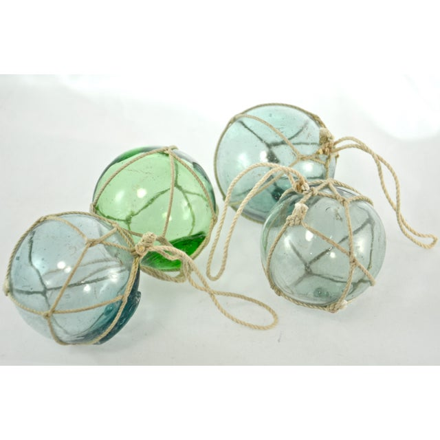 Aqua Japanese Blown Glass Net Float Ornaments - Set of 4 - Image 3 of 5