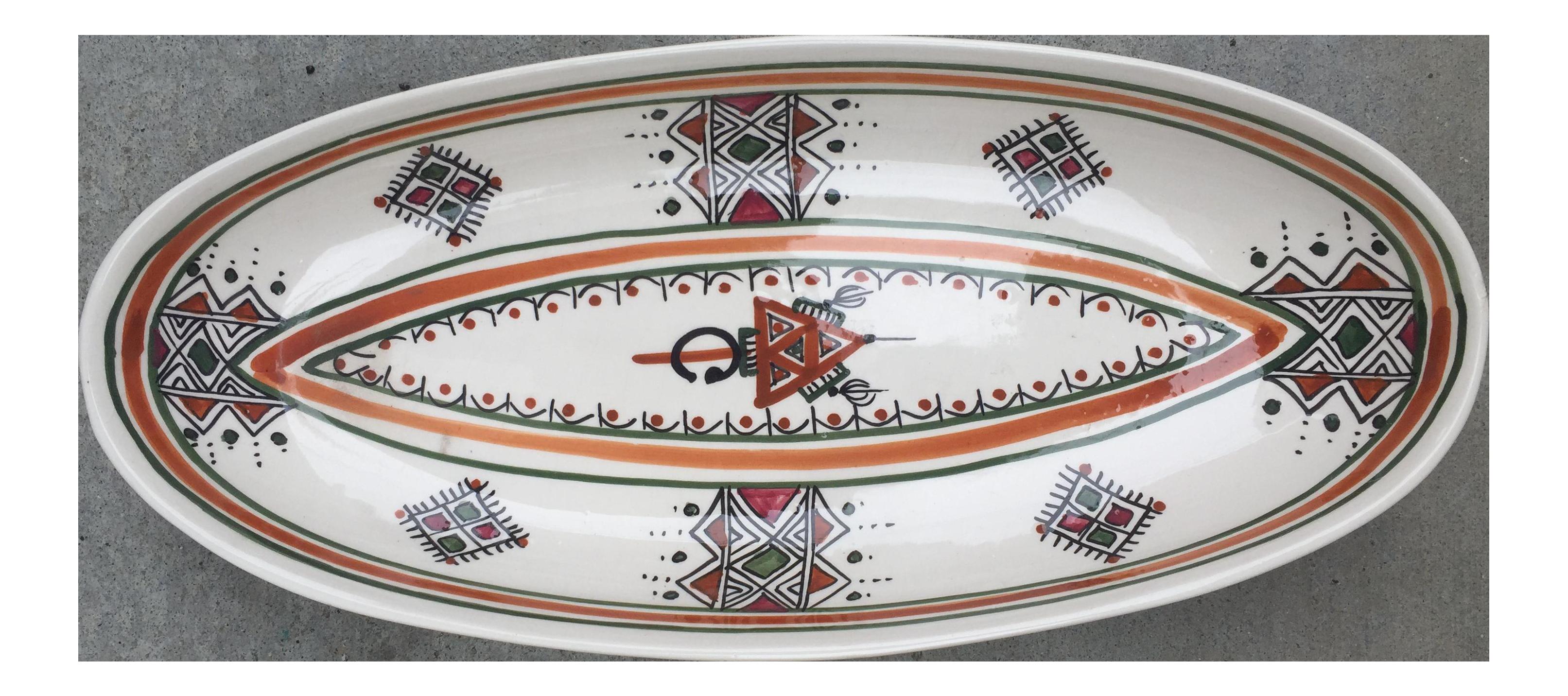 Oval Tunisian Ceramic Serving Dish - Image 1 of 6  sc 1 st  Chairish & Oval Tunisian Ceramic Serving Dish | Chairish