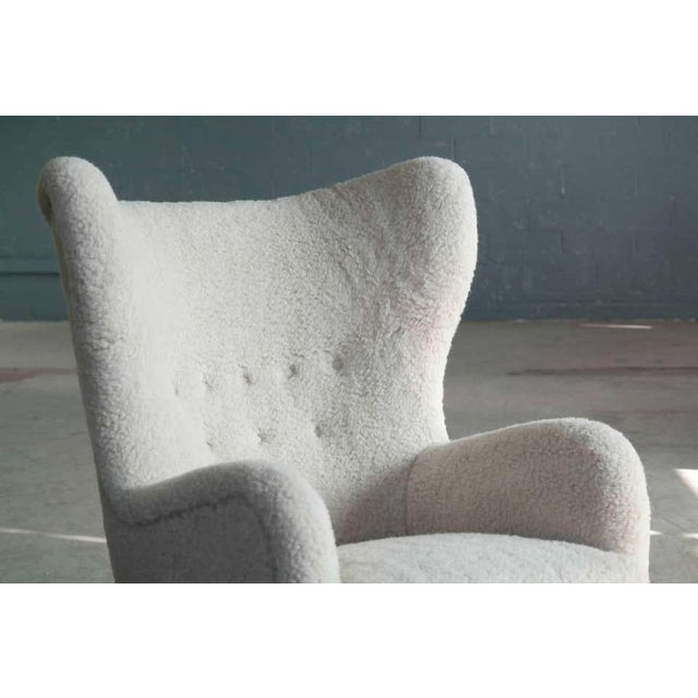 Wood High Back Lounge Chair in Lambswool Danish 1940's Attributed to Flemming Lassen For Sale - Image 7 of 11