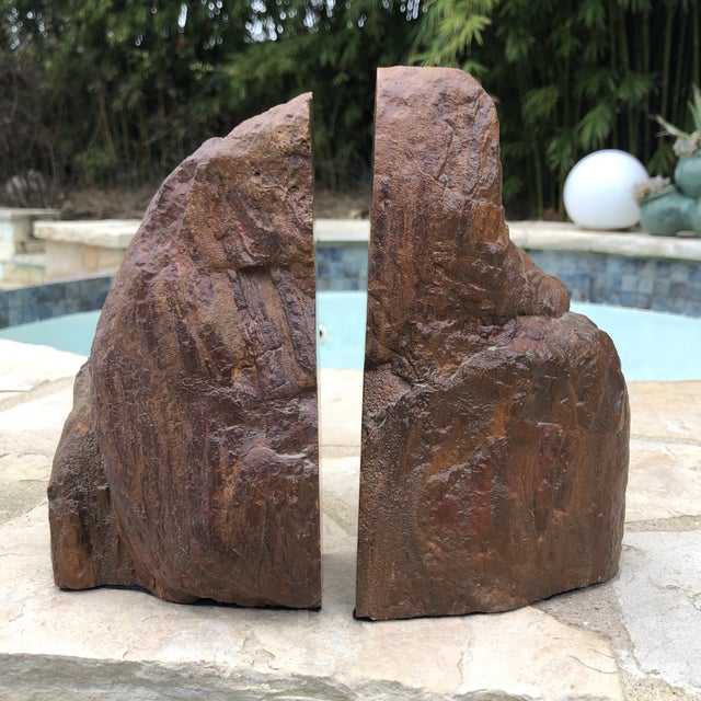 Contemporary Prehistoric Polished and Natural Petrified Wood Bookends - a Pair For Sale - Image 3 of 13