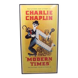 "Vintage Charlie Chaplin ""Modern Times"" Movie Poster - 78"" x 41 3/4"""