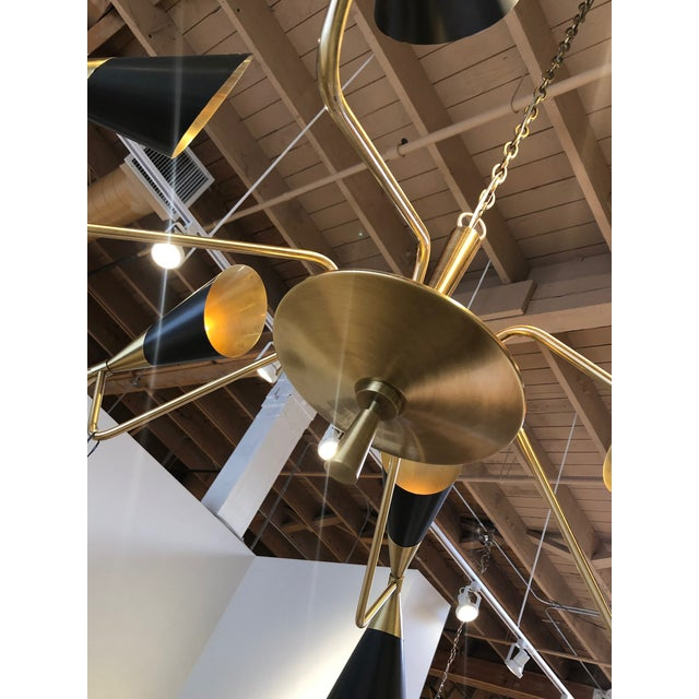 Modern Black Conical Shade Mid Century Chandelier For Sale - Image 4 of 6